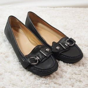 Coach Elkie Black Soft Leather Loafers Size 8